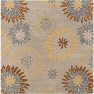 """Hand-tufted Dazzle Floral Square Wool Area Rug (9'9"""" x 9'9"""")"""