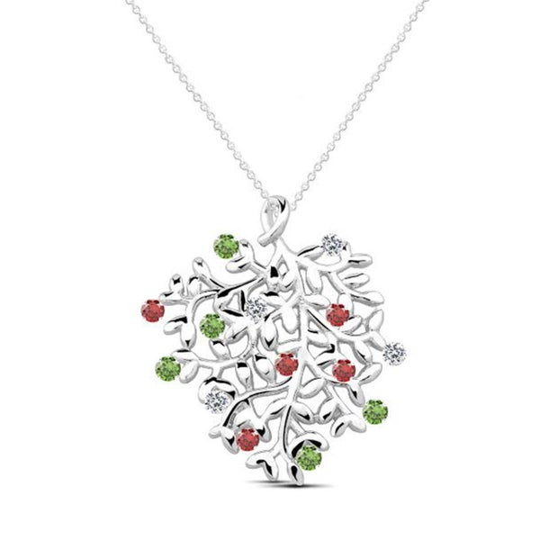 Sterling Silver Red/ Green/ White Cubic Zirconia Leaf Pendant Necklace