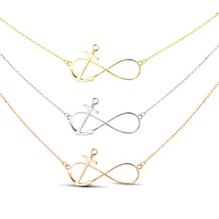 Tri-color Sterling Silver Graduated 3-strand Anchor Necklace
