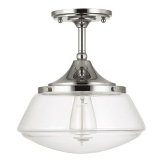 Capital Lighting Retro School House Collection 1-light Polished Nickel Flushmount
