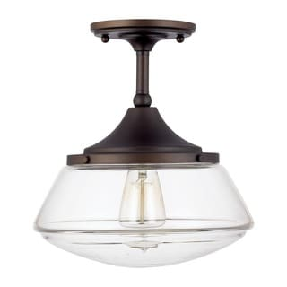 Capital Lighting Retro School House Collection 1-light Burnished Bronze Flushmount