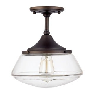 Retro School House 1-light Flushmount in Burnished Bronze