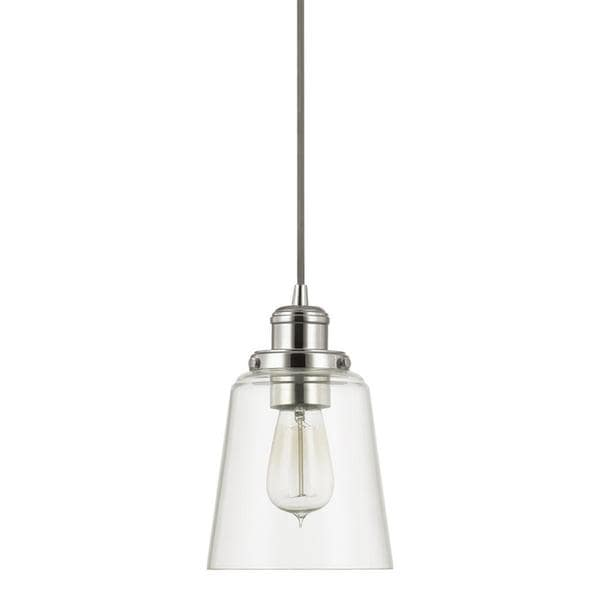 Urban Theme Polished Nickel with Clear Glass 1-light Mini Pendant (As Is Item)