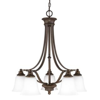 Belmont Burnished Bronze with Soft White Glass 5-light Chandelier