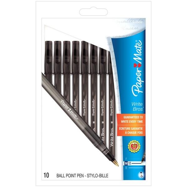 Papermate Write Bros. Medium Point Ballpoint Stick Pens (Pack of 10)