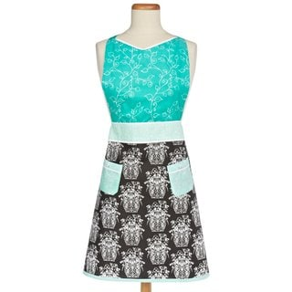 MUkitchen Georgina Blue and Black Damask Print Cotton Apron
