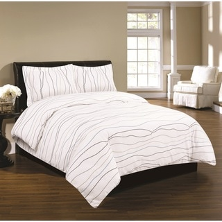 Tribeca Living Solid Flannel 3 Piece Duvet Cover Set