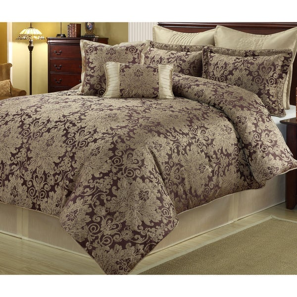 Ethel Gold Purple  Piece Floral Comforter Set Free Shipping Today