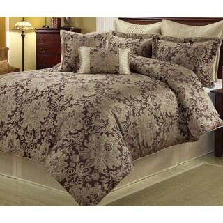 Ethel Gold/ Purple 8-piece Floral Comforter Set