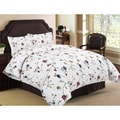 Tribeca Living Floral Garden Flannel 3-piece Duvet Cover Set