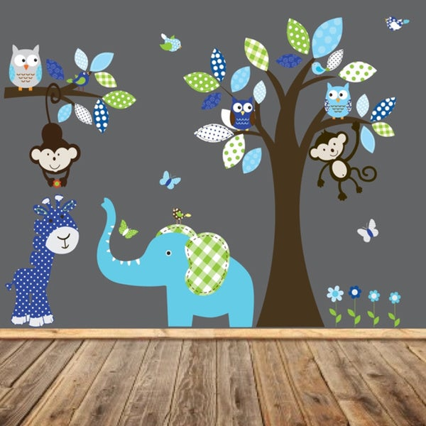 Nursery Blue Turquoise and Green Jungle Wall Decal