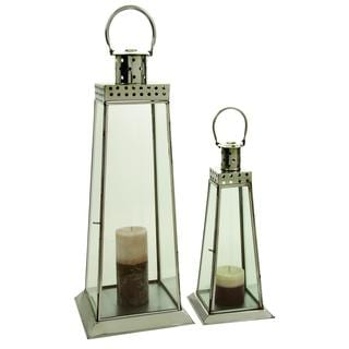 DHP Stainless Steel and Glass Lanterns (Set of 2)