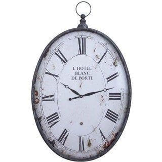Distressed Metal Oval Wall Clock