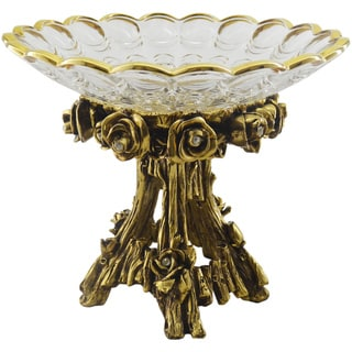 Decorative Glass Bowl with Golden Tree Stump Base