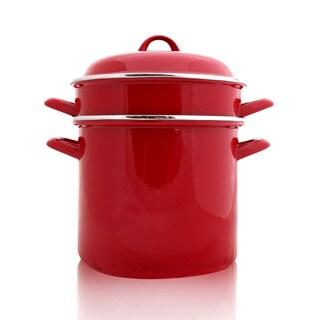 8-quart Red Enamel 3-piece Multi Purpose Pasta Pot