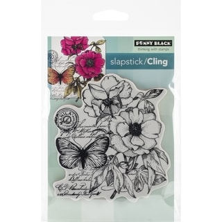 Penny Black Cling Rubber Stamp 4inx5.25in Sheet -Botanical Notes