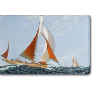 The Red Sailboat' Oil on Canvas Art
