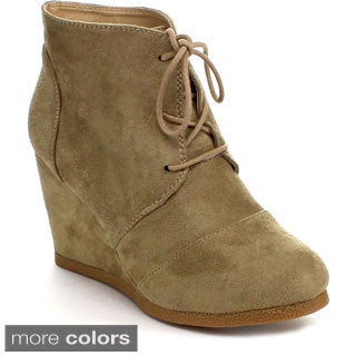 Styluxe Women's 'Winning-08' Faux Suede Lace-up Wedge Booties