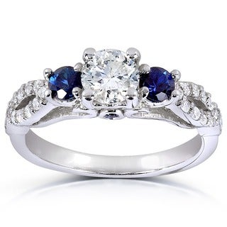 Annello 14k White Gold Round Blue Sapphire and 3/4ct TDW Diamond Three Stone Ring (G-I, I1-I2)