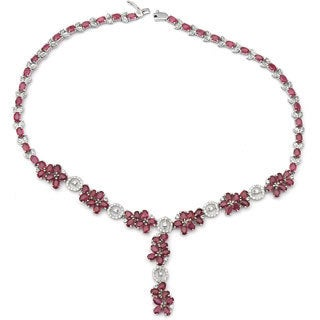 De Buman Sterling Silver Natural Ruby Necklace