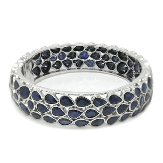 De Buman Sterling Silver Natural Sapphire Bangle Bracelet