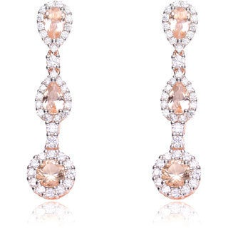 Collette Z Sterling Silver Soft Champagne Glass and White Cubic Zirconia Long Dangle Earrings