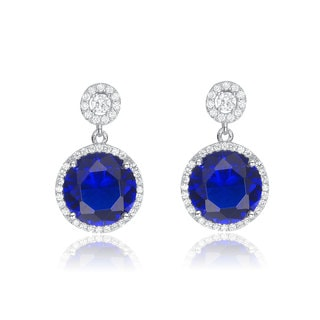 Collette Z Sterling Silver Blue and White Cubic Zirconia Drop Earrings