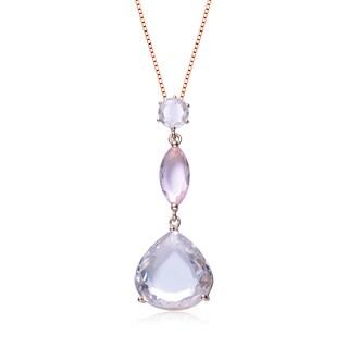 Collette Z Sterling Silver Light Pink Cubic Zirconia Pastel Color Necklace