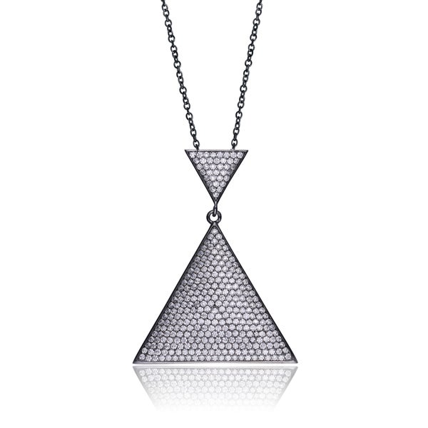 Collette Z Black-plated Sterling Silver Cubic Zirconia Micro Pave-set Triangle Shape Necklace