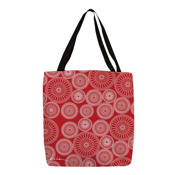 Thumbprintz 'Wheels' White on Red Printed Tote