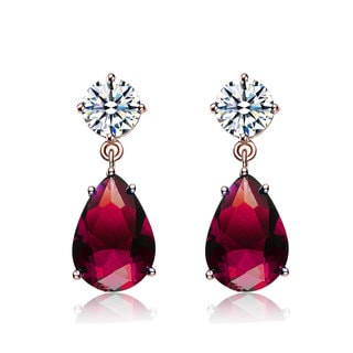 Collette Z Rose Goldplated Sterling Silver Red and White Cubic Zirconia Pear Drop Earrings