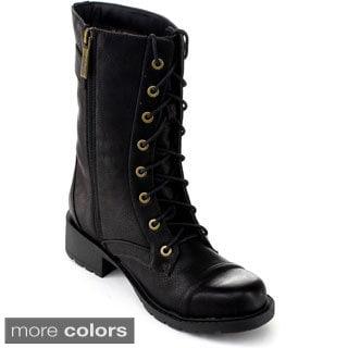 DBDK Women's 'Gladys-2' Lace-up Mid-calf Combat Boots