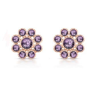 Collette Z Rose Goldplated Sterling Silver Purple Cubic Zirconia Flower Stud Style Earrings