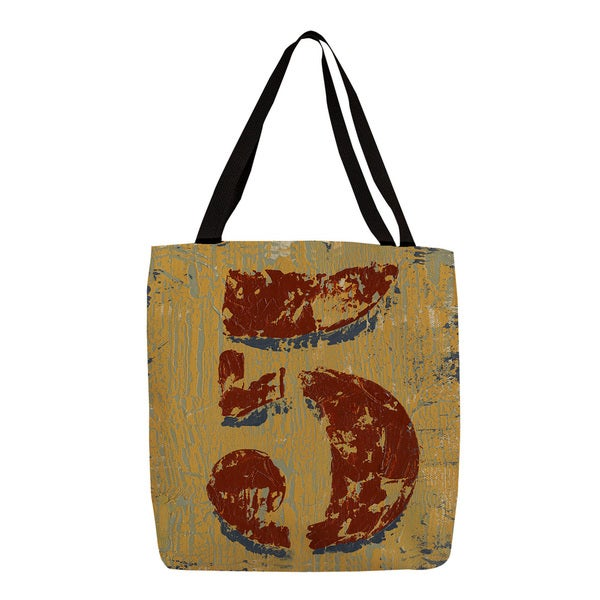 Thumbprintz 'Vintage Numbers V' Burnt Orange Printed Tote