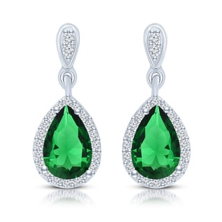 Collette Z Sterling Silver Green Cubic Zirconia Pear Drop Earrings