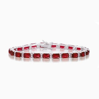 Collette Z Sterling Silver Red and White Cubic Zirconia Emerald-cut Tennis Style Bracelet