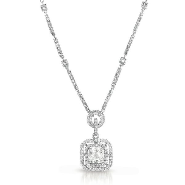 Collette Z Sterling Silver Cubic Zirconia Square Drop Necklace