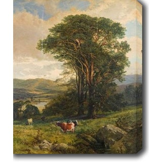 Johnson Charles Edward 'Cows in Rough Pasture' Oil on Canvas Art