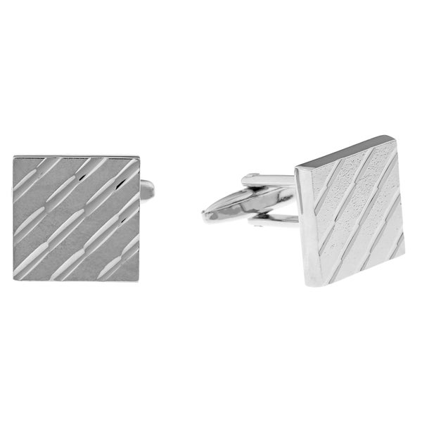 Stainless Steel Square Ribbed Cuff Links 13829269