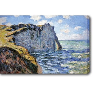 Claude Monet 'The Cliff of Aval Etretat' Oil on Canvas Art