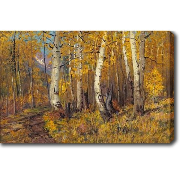 Charles Partridge Adams 'A Path through the Aspens' Oil on Canvas Art