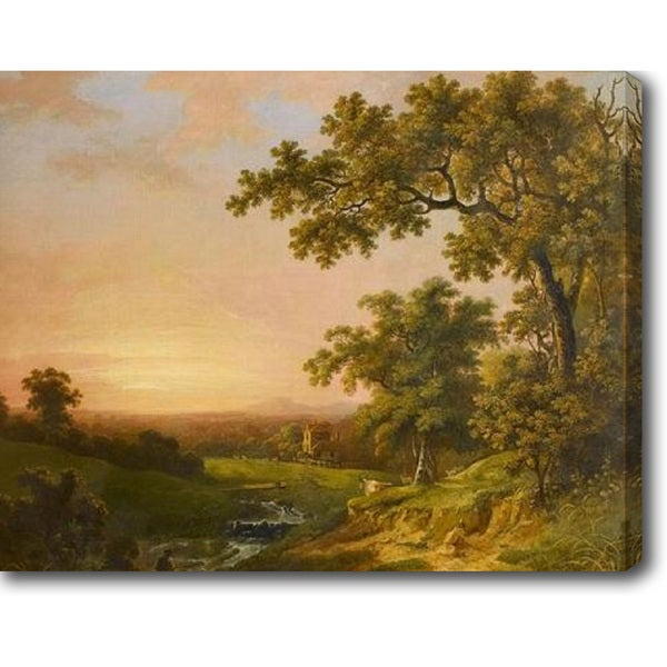 Abraham Pether 'A River Landscape at Sunset with a Fisherman on the Bank in the Foreground' Oil on Canvas