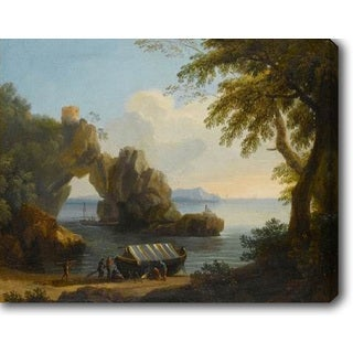 Gregorio Fidanza 'Landscape with Natural Arch On The Left' Oil on Canvas Art