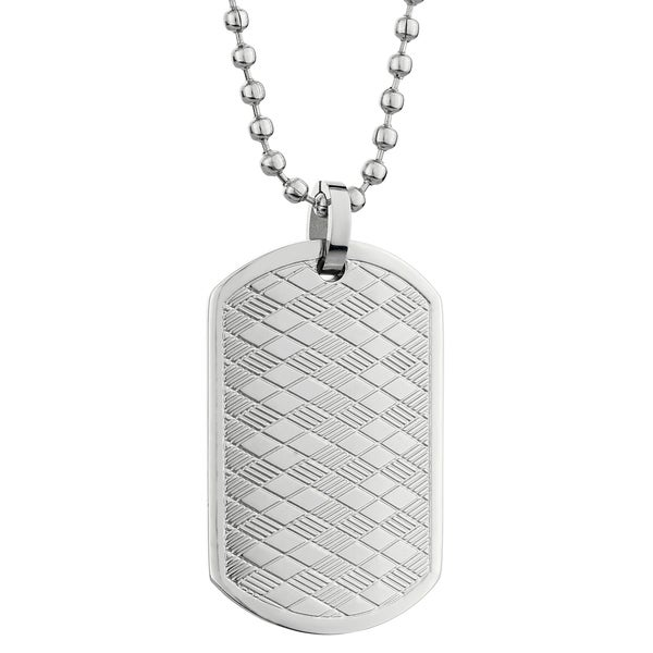 Stainless Steel Argyle Dog Tag Pendant