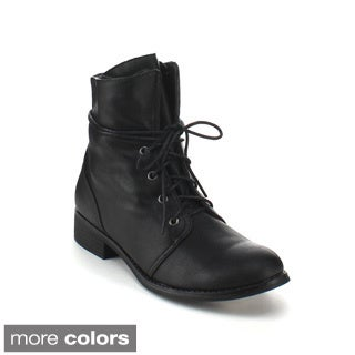 Refresh Women's 'Paloma-01' Military Lace-up Booties