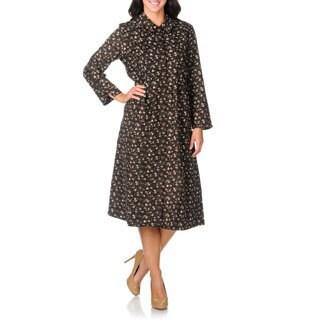 La Cera Women's Brown Floral Print Corduroy Dress