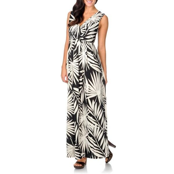 La Cera Women's Black/ White Tropical Leaf Maxi Dress