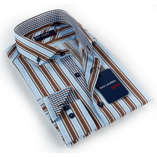 Max Lauren Men's Blue/ Brown Striped Button-down Dress Shirt