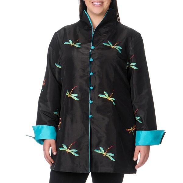 La Cera Women's Plus Size Long Sleeve Black/ Blue Dragonfly Jacket