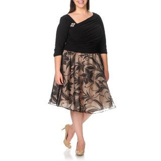 S.L. Fashions Women's Plus Size Floral Shadow Skirt Cocktail Dress